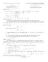 Đề thi tuyển sinh lớp 10 môn toán hà nội năm học 2016   2017(có đáp án)