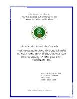 THỰC TRẠNG HOẠT ĐỘNG tín DỤNG cá NHÂN tại NGÂN HÀNG TMCP kỹ THƯƠNG VIỆT NAM (TECHCOMBANK)   PHÒNG GIAO DỊCH NGUYỄN ẢNH THỦ