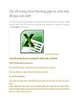 Lỗi và cách sửa lỗi trong Excel