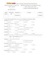 Đề thi học kỳ 2 môn Tiếng Anh lớp 6 Phòng GD-ĐT Châu Thành, Bến Tre năm học 2013 - 2014