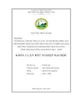 Ảnh Hưởng Của Dự Án Mở Rộng Phía Tây Thành Phố Thái Nguyên Đến Giá Đất Ở Trên Địa Bàn Phường Thịnh Đán,Thành Phố Thái Nguyên, Tỉnh Thái Nguyên, Giai Đoạn 2012 – 2014