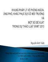 Khung pháp lý về phòng ngừa, ứng phó, khắc phục sự cố môi trường và một số đề xuất trong dự thảo luật BVMT 2013