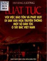 Luật tục với việc bảo tồn và phát huy di sản VHTT một số dân tộc ở tây bắc việt nam (NXB văn hóa 2004)   hoàng lương, 180 t