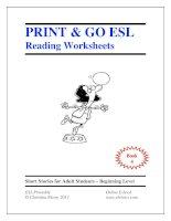 Print  go ESL reading worksheets book 4
