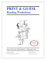 Print  go ESL Reading worksheets book
