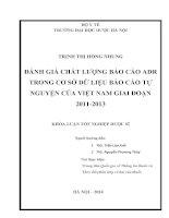 ĐÁNH GIÁ CHẤT LƯỢNG BÁO CÁO ADR TRONG CƠ SỞ DỮ LIỆU BÁO CÁO TỰ NGUYỆN CỦA VIỆT NAM GIAI ĐOẠN 2011-2013