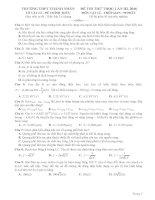 Giải chi tiết đề thi thử THPT thành nhân lần III, 2016