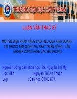 MỘT số BIỆN PHÁP NÂNG CAO HIỆU QUẢ KINH DOANH tại TRUNG tâm GIỐNG và PHÁT TRIỂN NÔNG   lâm NGHIỆP CÔNG NGHỆ CAO hải PHÒNG