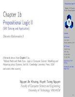 Chapter 1b Propositional Logic II (SAT Solving and Application) Discrete Mathematics II BK TPHCM