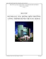 Bài tập môi trường trong xây dựng về đánh giá tác động môi trường công trình bệnh viện đa khoa