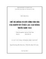 Đề tài Chế độ quằng và đời sống văn hóa của người Tày ở Bảo Lạc (Cao Bằng) trước năm 1945