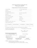 Mẫu Tờ khai đăng ký xe máy chuyên dùng