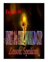 Bài giảng Tiếng Anh 10 unit 14 - Speaking