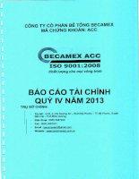 Báo cáo tài chính quý 4 năm 2013 - Công ty cổ phần Bê tông Becamex