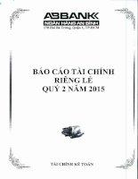 Báo cáo tài chính công ty mẹ quý 2 năm 2015 - Ngân hàng Thương mại cổ phần An Bình