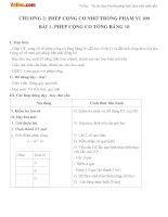 Giáo án Toán 2 chương 2 bài 1: Phép cộng có tổng bằng 10
