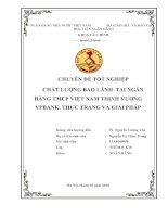 CHẤT LƯỢNG bảo LÃNH  tại NGÂN HÀNG TMCP VIỆT NAM THỊNH VƯỢNG VPBANK  THỰC TRẠNG và GIẢI PHÁP