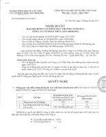 Nghị quyết Đại hội cổ đông bất thường - Công ty Cổ phần Thủy sản Mekong