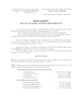 Nghị quyết Đại hội cổ đông thường niên năm 2011 - Công ty Cổ phần Sách và Thiết bị Bình Định