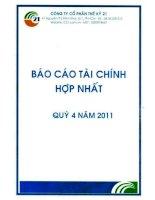 Báo cáo tài chính hợp nhất quý 4 năm 2011 - Công ty cổ phần Thế kỷ 21