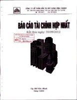Báo cáo tài chính hợp nhất quý 3 năm 2012 - Công ty Cổ phần Đầu tư Xây dựng Bình Chánh