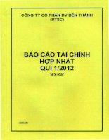 Báo cáo tài chính quý 1 năm 2012 - Công ty Cổ phần Dịch vụ Bến Thành