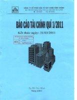 Báo cáo tài chính công ty mẹ quý 1 năm 2011 - Công ty Cổ phần Đầu tư Xây dựng Bình Chánh