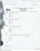 Đề thi toán a1 CD IUH đại học công nghiệp TP HCM