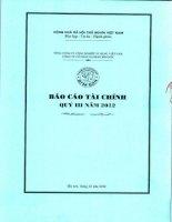 Báo cáo tài chính quý 3 năm 2012 - Công ty Cổ phần Xi măng Bỉm Sơn