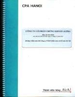 Báo cáo tài chính năm 2012 (đã kiểm toán) - Công ty Cổ phần Chứng khoán ALPHA