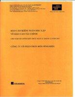 Báo cáo tài chính công ty mẹ năm 2014 (đã kiểm toán) - Công ty cổ phần Phân bón Bình Điền