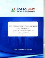 Báo cáo tài chính hợp nhất quý 3 năm 2014 - Công ty Cổ phần Đầu tư và Phát triển Nhà đất COTEC