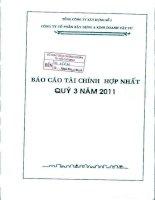Báo cáo tài chính hợp nhất quý 3 năm 2011 - Công ty Cổ phần Xây dựng và Kinh doanh Vật tư