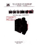 Báo cáo tài chính hợp nhất quý 3 năm 2011 - Công ty Cổ phần Đầu tư Xây dựng Bình Chánh