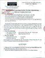 Nghị quyết Đại hội cổ đông thường niên năm 2011 - Công ty Cổ phần Đầu tư Alphanam