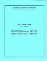 Báo cáo tài chính quý 3 năm 2014 - Công ty cổ phần Khoáng sản Bình Định