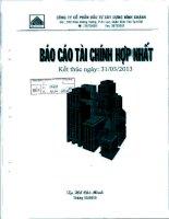 Báo cáo tài chính hợp nhất quý 1 năm 2013 - Công ty Cổ phần Đầu tư Xây dựng Bình Chánh