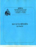 Báo cáo tài chính công ty mẹ quý 4 năm 2014 - Công ty Cổ phần Xuất nhập khẩu Thủy sản An Giang