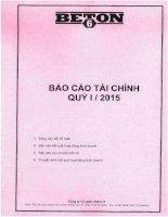 Báo cáo tài chính công ty mẹ quý 1 năm 2015 - Công ty Cổ phần Beton 6