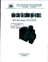 Báo cáo tài chính công ty mẹ quý 4 năm 2011 - Công ty Cổ phần Đầu tư Xây dựng Bình Chánh