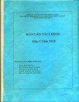 Báo cáo tài chính quý 1 năm 2015 - Công ty Cổ phần Chứng khoán ALPHA