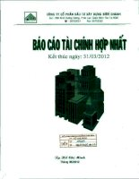 Báo cáo tài chính hợp nhất quý 1 năm 2012 - Công ty Cổ phần Đầu tư Xây dựng Bình Chánh