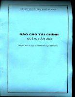 Báo cáo tài chính quý 2 năm 2012 - Công ty cổ phần Xuất nhập khẩu An Giang