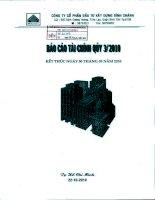 Báo cáo tài chính công ty mẹ quý 3 năm 2010 - Công ty Cổ phần Đầu tư Xây dựng Bình Chánh