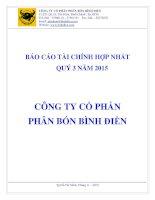 Báo cáo tài chính hợp nhất quý 3 năm 2015 - Công ty cổ phần Phân bón Bình Điền
