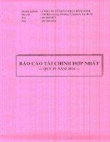 Báo cáo tài chính hợp nhất quý 4 năm 2014 - Công ty Cổ phần Nhựa Bình Minh