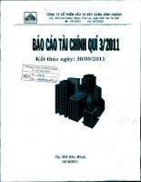 Báo cáo tài chính công ty mẹ quý 3 năm 2011 - Công ty Cổ phần Đầu tư Xây dựng Bình Chánh