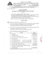 Nghị quyết Đại hội cổ đông thường niên năm 2014 - Công ty cổ phần Thực phẩm Nông sản Xuất khẩu Sài Gòn