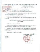 Nghị quyết Hội đồng Quản trị - Công ty Cổ phần Thủy Sản Cửu Long