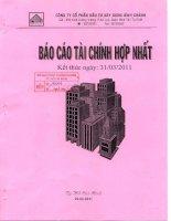 Báo cáo tài chính hợp nhất quý 1 năm 2011 - Công ty Cổ phần Đầu tư Xây dựng Bình Chánh